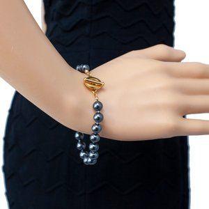 Carolee Freshwater Pearl Gray/Gold Bracelet